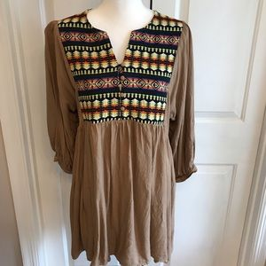 Umgee babydoll boho dress. Tan with Aztec print